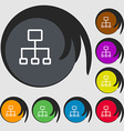 social network icon Symbols on eight colored vector image