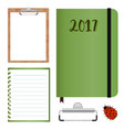 stationery set with clipboard with lined paper vector image