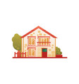 suburban private house front view vector image vector image