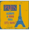 Vintage Touristic Greeting Card - Paris vector image