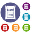 vintage wanted poster icons set vector image vector image