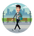 young man with backpack park urban vector image