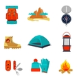 Set of camping equipment icons and symbols vector image