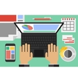 flat workplace top view vector image