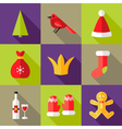 9 Christmas Flat Icons Set 6 vector image