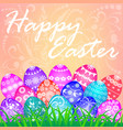 a postcard at easter eggs and ornament vector image