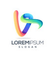 awesome letter v logo template vector image