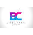 bc b c letter logo with shattered broken blue vector image vector image