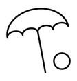 beach umbrella with ball line icon vector image