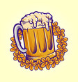 beer glass flowers summers party october fest logo vector image
