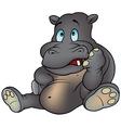 blue eyed hippo sitting vector image
