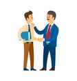 boss praising worker at job good company leader