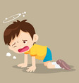 boy kneel down have dizziness vector image