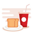 bread with soda icons vector image
