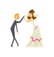 bride manipulating her groom couple of newlyweds vector image vector image