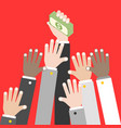 business hand holding pile dollar banknote and vector image