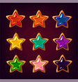 cartoon colorful star gemstones vector image