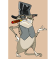 cartoon funny cat in the hat with a monocle vector image vector image