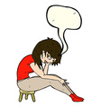 cartoon woman sitting on small stool with speech vector image vector image