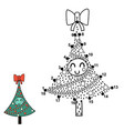 christmas dot to dot game with a funny tree vector image vector image