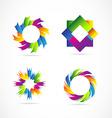Colored logo elements icon set design vector image vector image