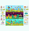 colorful amusement park infographic banners vector image vector image