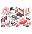 conference hall isometric flowchart vector image