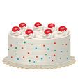 cream cake with cherries vector image vector image