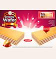creamy wafer ads milk splashes background vector image vector image