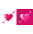 cupid heart with arrow valentines day vector image vector image