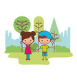 cute boy and girl in the park vector image