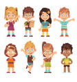 cute cartoon kids set children girls boys vector image vector image