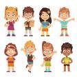 cute cartoon kids set children girls boys vector image