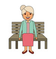 cute grandmother sitting in bench resting happy vector image vector image