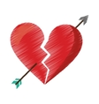 drawing red heart broken sad separation vector image vector image