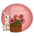 easter with bunny and flowers vector image