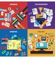 Freelance 4 flat icons banner square vector image vector image