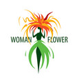 girl logo in the shape of a flower vector image