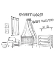 Hand drawn sketches furniture for children s room vector image