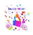 hand hold coin business idea investment concept vector image vector image