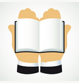 hands and book vector image