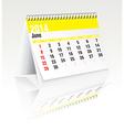 june 2014 desk calendar vector image vector image
