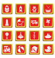 kids toys icons set red square vector image