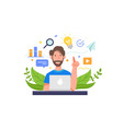 man work in front a laptop vector image