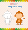 Monkey coloring book educational game vector image vector image