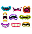monster mouths with sharp teeth and tongues set vector image