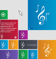 musical notes icon sign buttons Modern interface vector image