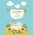 nice card with cute baby in flowers vector image