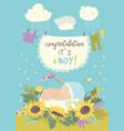 nice card with cute bain flowers vector image vector image