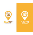 paw and map pointer logo combination pet vector image vector image